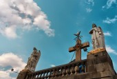 MEXICO CITY, MEXICO - NOVEMBER 30, 2016: Statues of Archangels Gabriel and Uriel on top of Tepeyac Hill