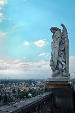 Statue of the Archangel Michael standing on top of Tepeyac Hill in Mexico City