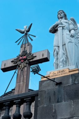 MEXICO CITY, MEXICO - NOVEMBER 30, 2016: Statue of Archangel Uriel on top of Tepeyac Hill