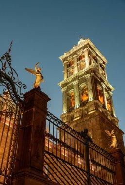 Puebla Cathedral at night in Puebla, Mexico