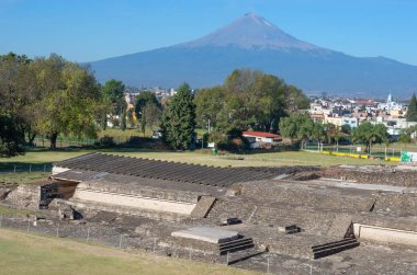 Popocatepetl volcano and ruins of Great Pyramid of Cholula, , Mexico. View from Church of Virgin of the remedies in Cholula