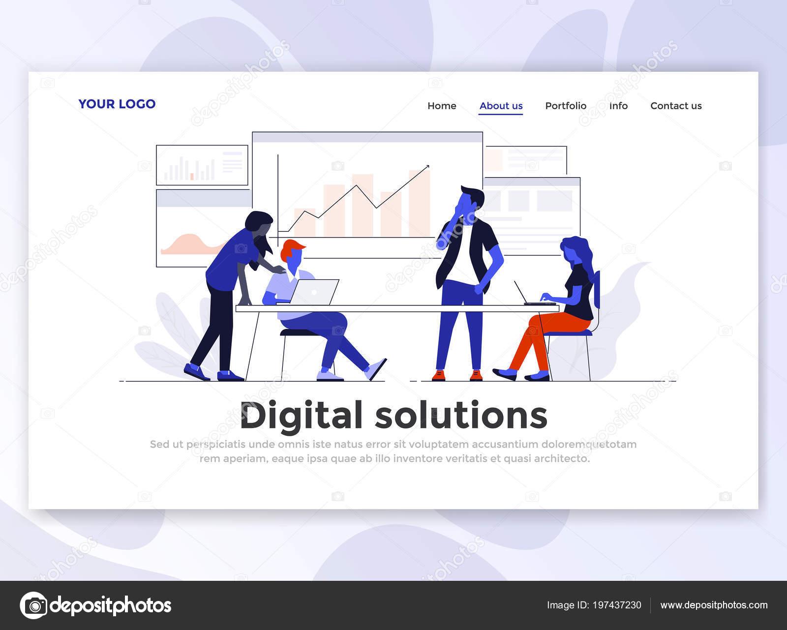 Plantilla Página Aterrizaje Solución Digital Concepto Moderno Diseño ...