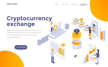 Modern flat design isometric concept of Cryptocurrency exchange for website and mobile website. Landing page template. Easy to edit and customize. Vector illustration