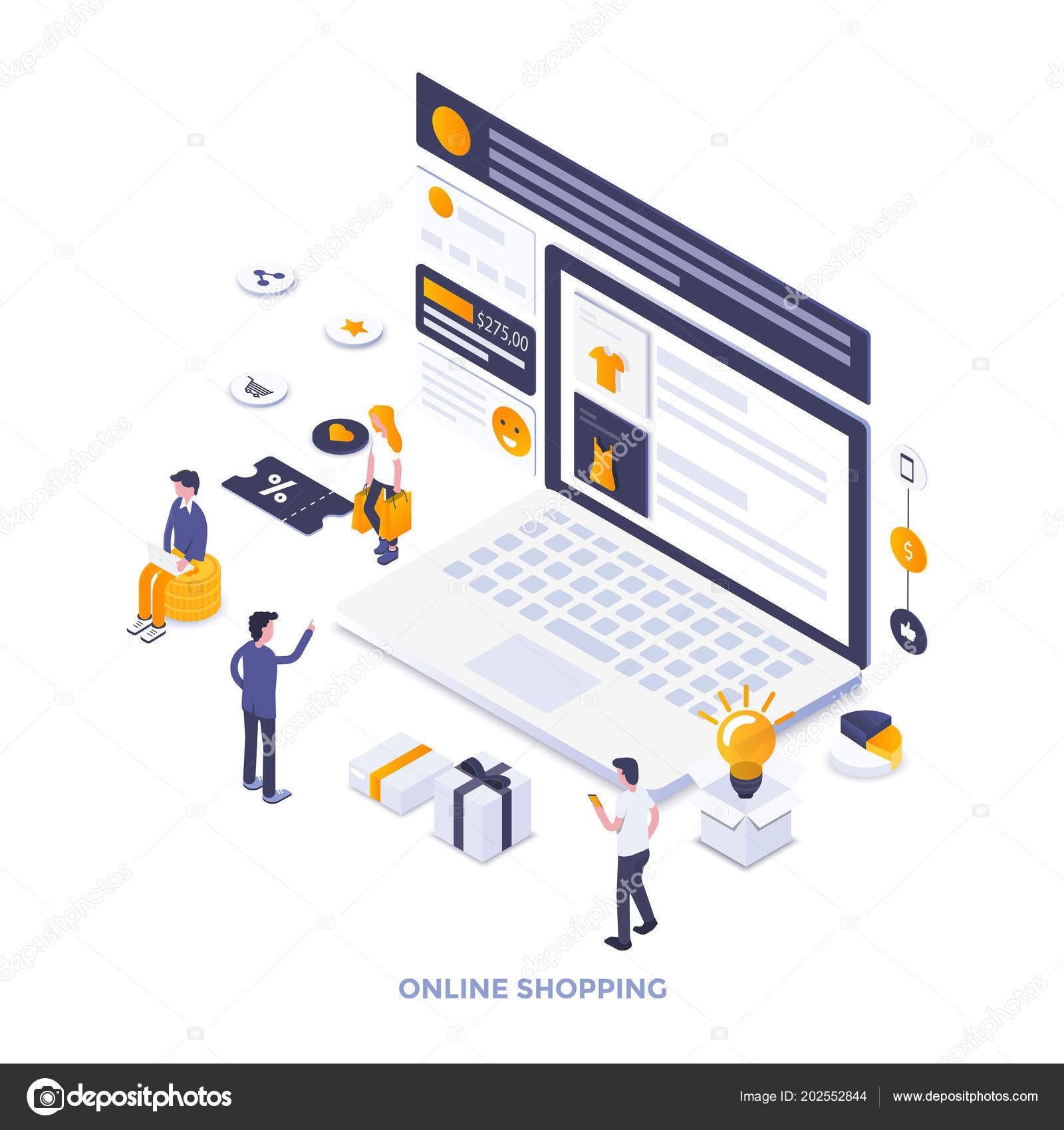 Modern Flat Design Isometric Illustration Online Shopping