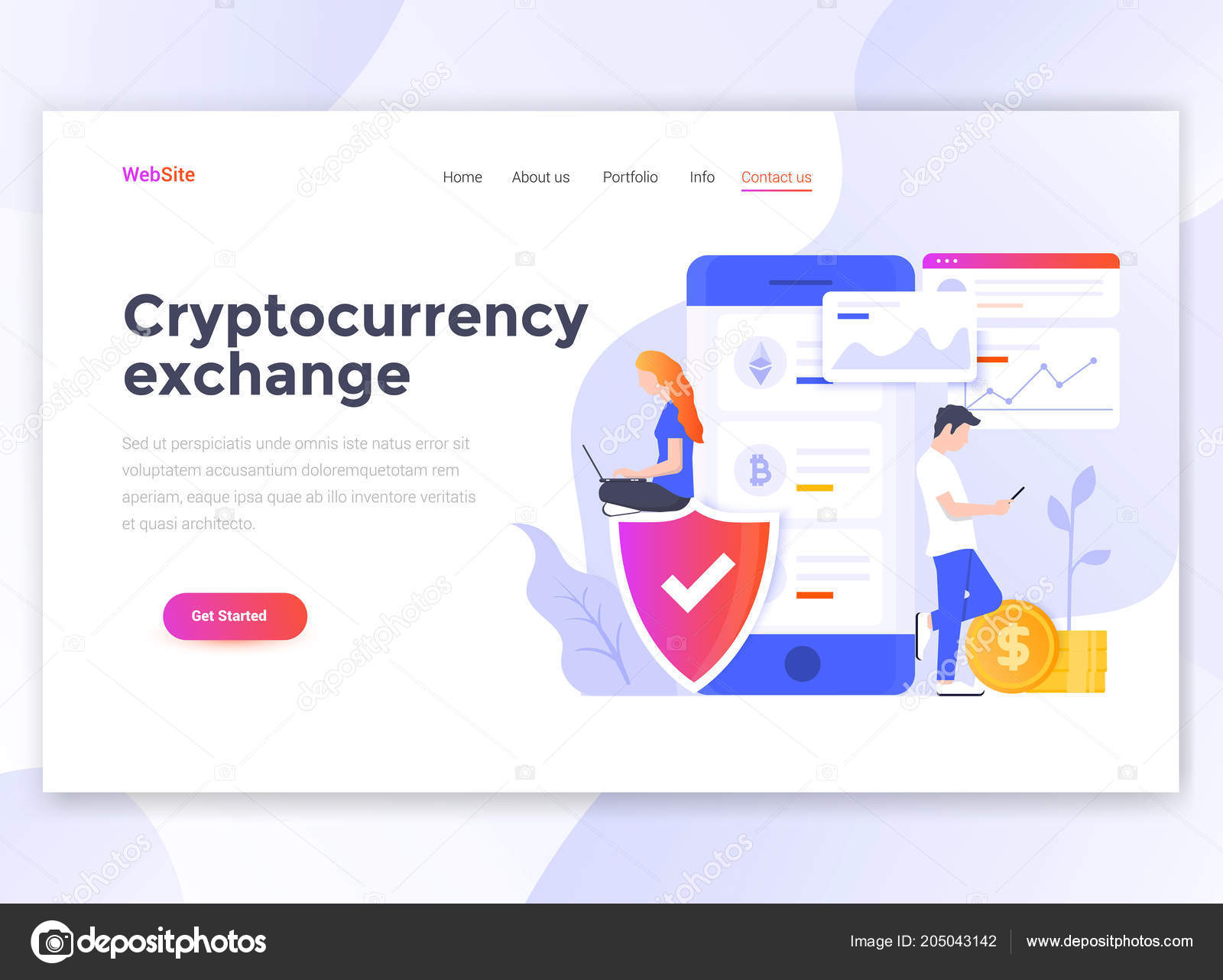 landing page template cryptocurrency exchange modern flat design