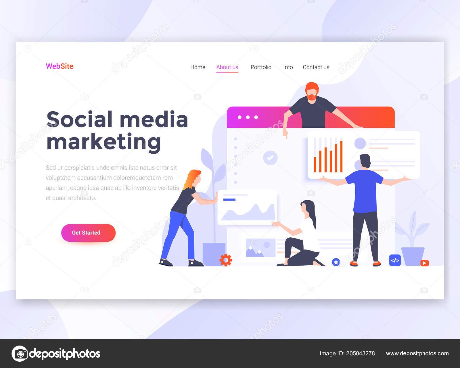 landing page template social media marketing modern flat design