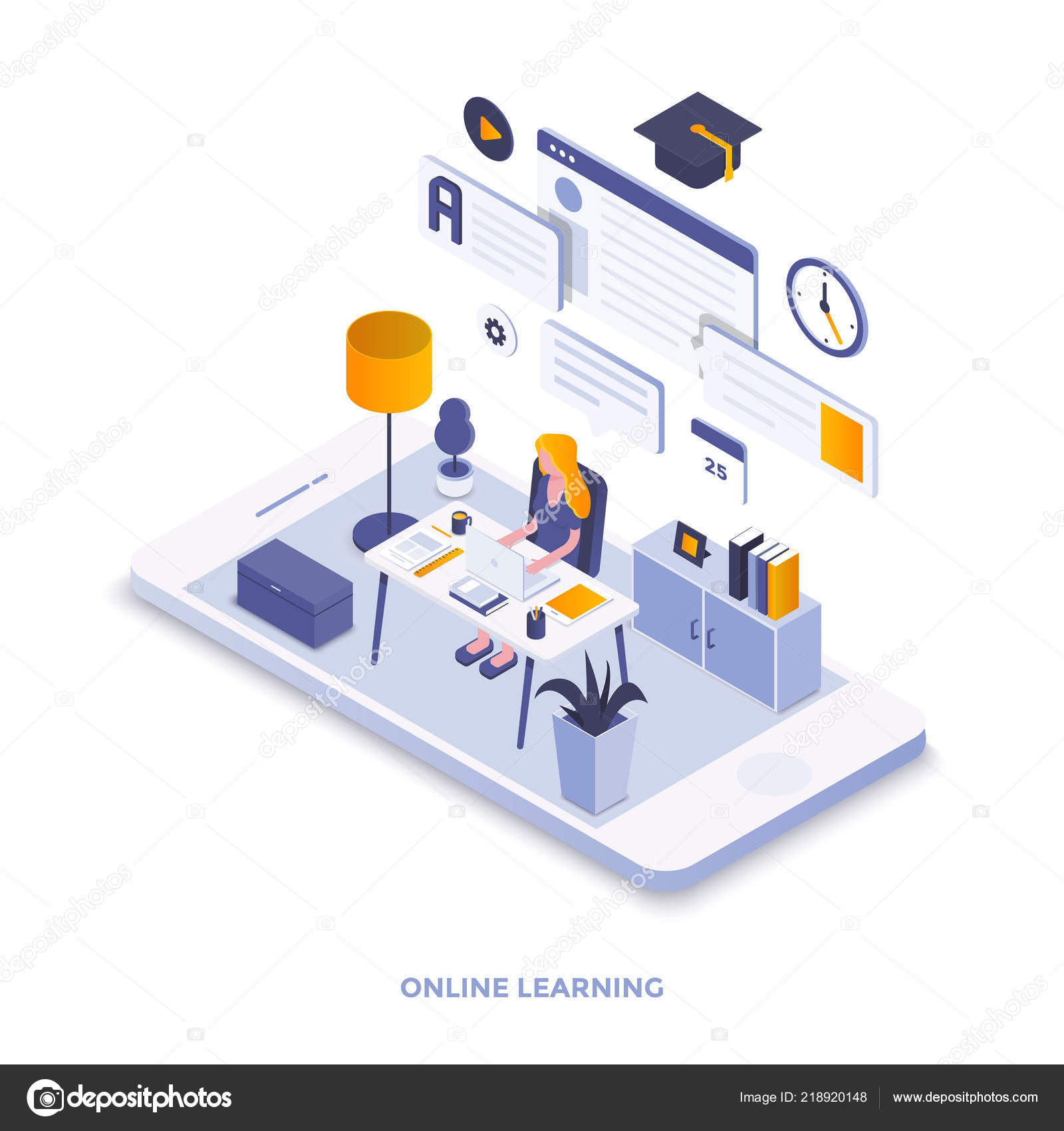 Modern Flat Design Isometric Illustration Online Learning