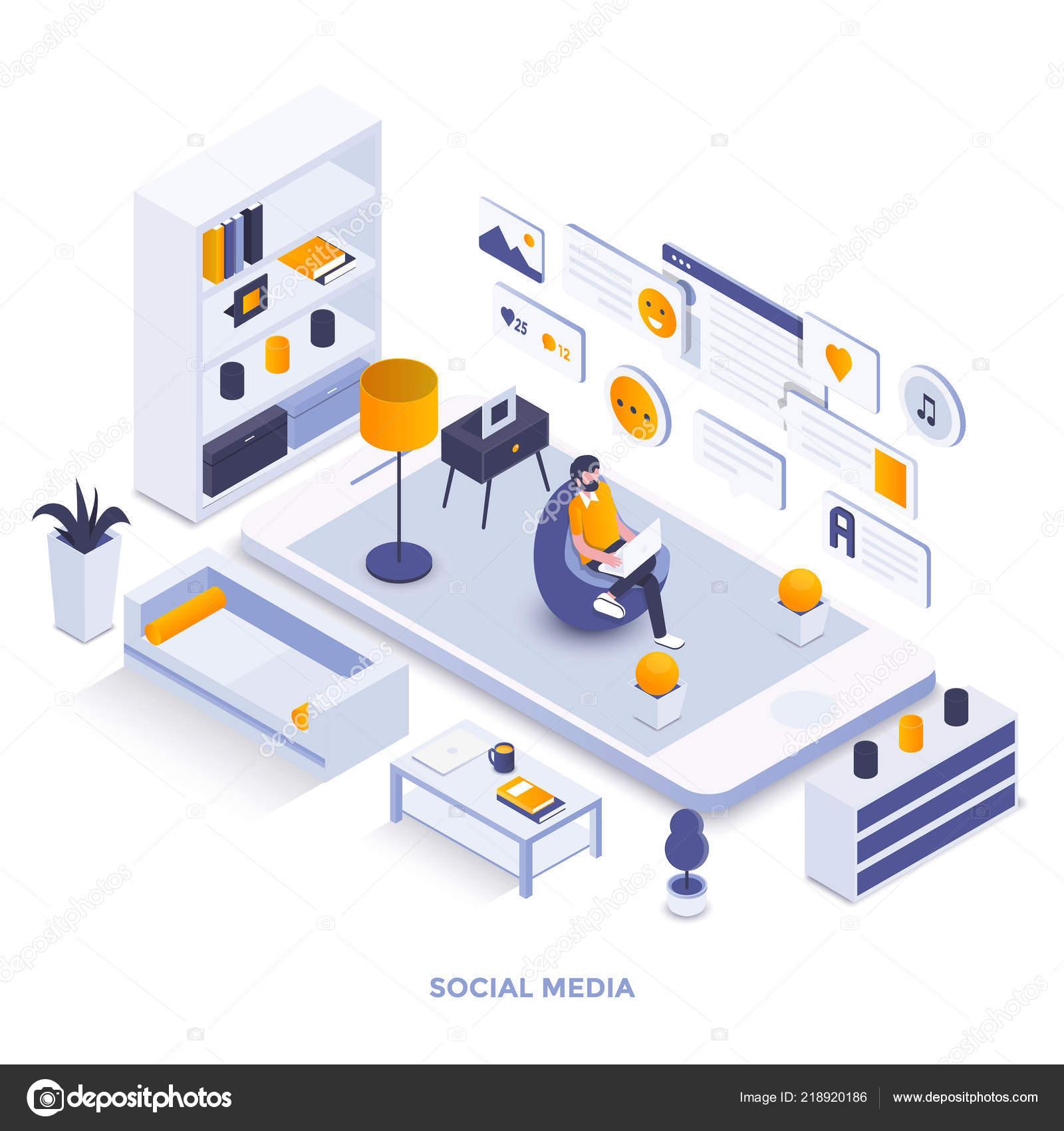 Modern Flat Design Isometric Illustration Social Media Can
