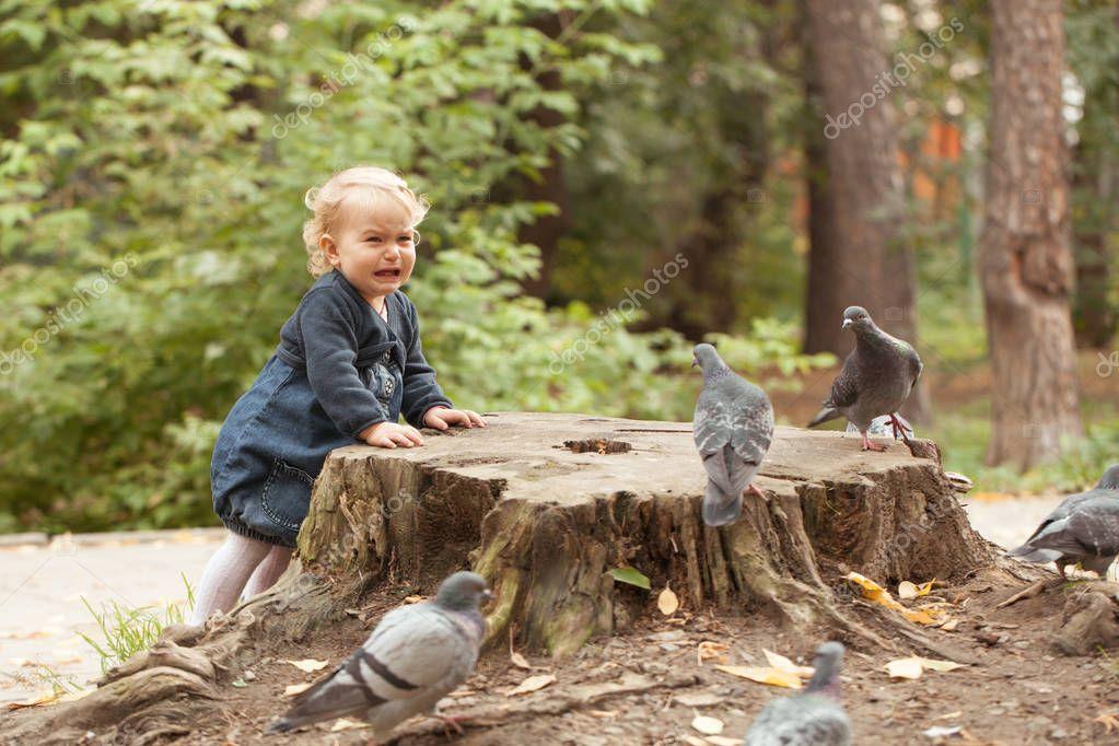 Pretty little girl feeding pigeons in autumn park