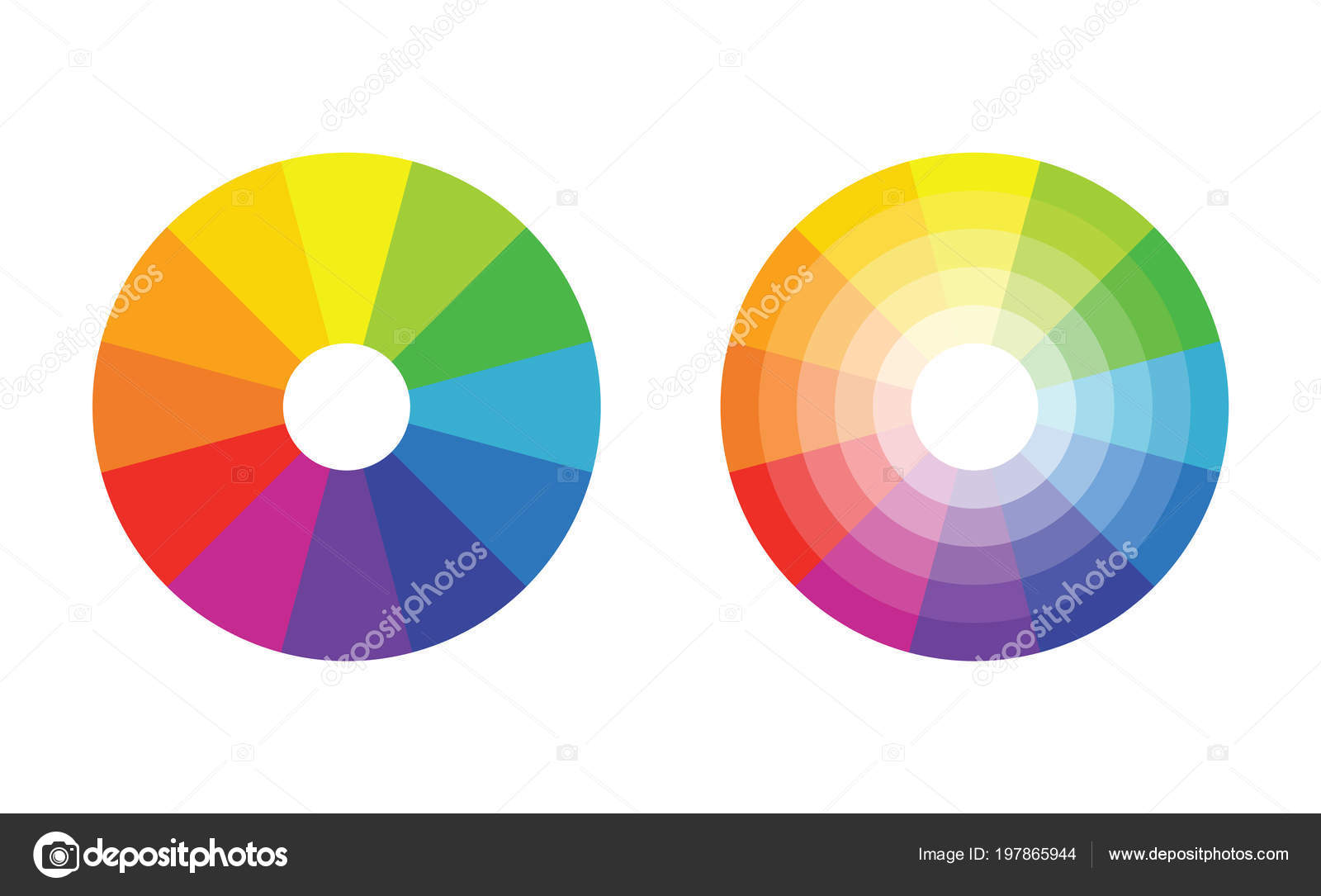 Color Wheel With Twelve Colors In Gradiations Stock Vector