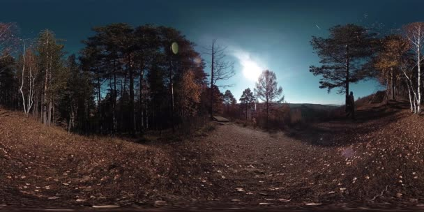 4K 360 VR virtual Reality of a beautiful mountain scene at the autumn time. Wild Russian mountains and tourist man.