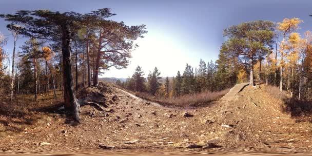 4k 360 Vr virtuální realita krásné horské scény na podzimní čas. Divoké ruské hory.
