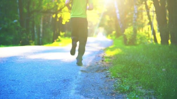 Sport man running at asphalt road. Rural city park. Green tree forest and sun rays on horizon.