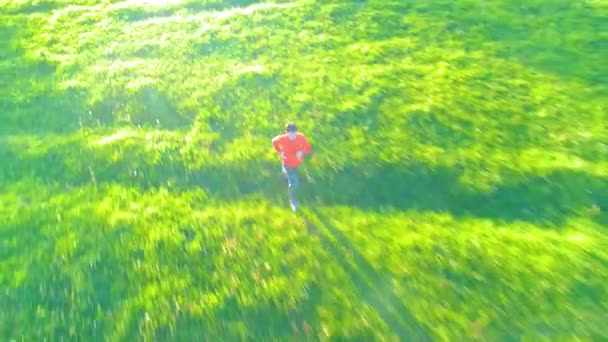 Flight over sporty man running at perfect green grass rural meadow offroad. Sunset in mountain