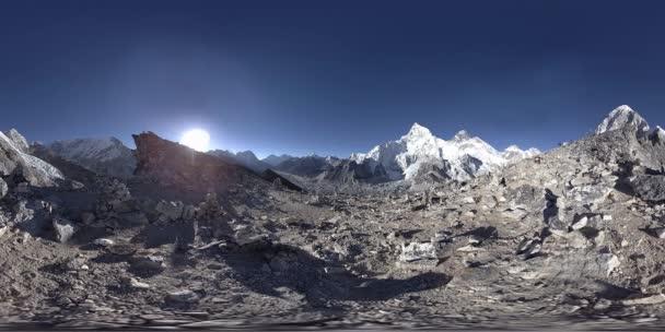 360 vr panoramatický pohled na západ slunce nad Kala Patthar. Mount Everest a Khumbu údolí, Nepál Himaláje. Gorak Shep