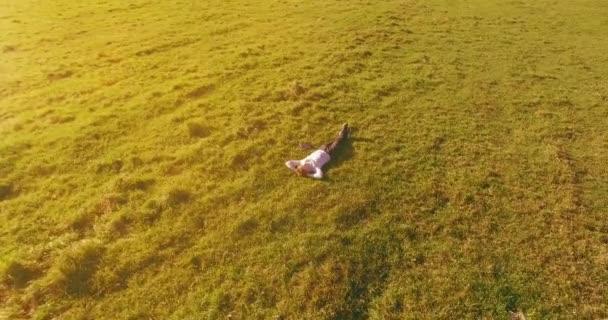 Alacsony orbitális repülés körül férfi zöld füvön notebook pad sárga vidéki területen.