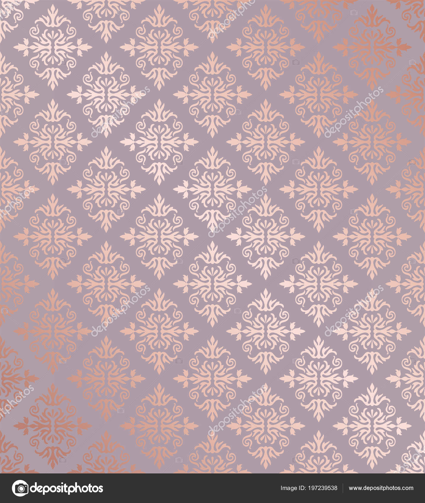 Seamless Floral Damask Rose Gold Wallpaper Pattern Image Vector
