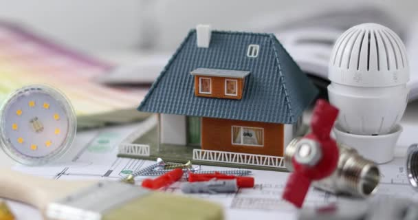 dům výstavbu a opravu koncept - zmenšený model s stavebních objektů