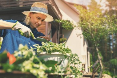 happy young woman planting summer flowers in pot at home backyar