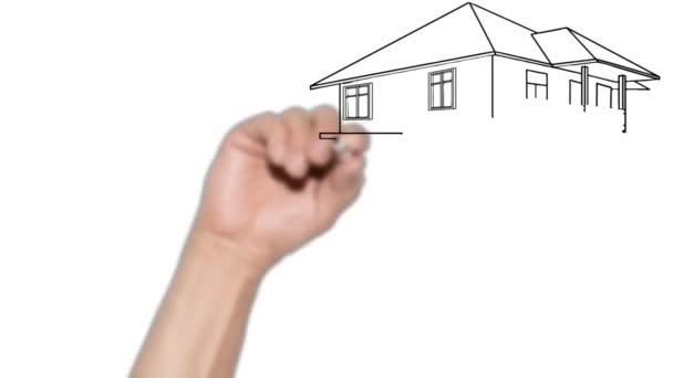 glückliche Familie vor ihrem neuen Haus. animiertes Doodle-Video