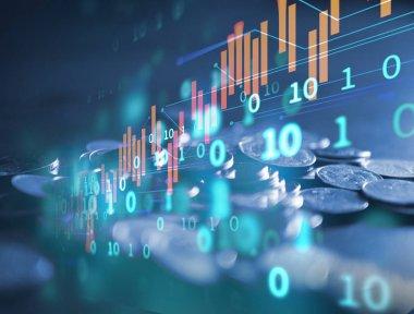 Çift Pozlama görüntü borsa yatırım grafik ve sikke yığını, iş yatırım ve gelecekteki hisse senedi Alım Satım kavramı