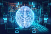 Fotografie 3d rendering of human  brain on technology background  represent artificial intelligence and cyber space concep
