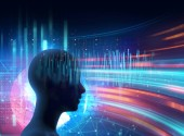 silhouette of virtual human on brain delta wave form 3d illustration  , represent meditation and deep sleep therapy