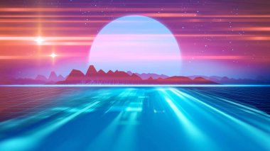 Retro futuristic background 1980s style 3d illustration. Digital landscape in a cyber world. For use as music album cover