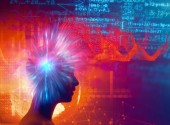 silhouette of virtual human on brain delta wave form 3d illustration  , represent meditation and