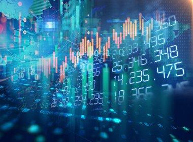 Finansal borsa grafik illüstrasyon, iş yatırım ve gelecekteki hisse senedi Alım Satım kavramı
