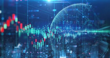 double exposure image of stock market investment graph and city skyline scene,concept of business investment and stock future trading