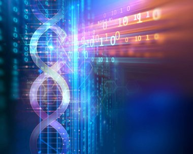 dna molecules on abstract technology background , concept of biochemistriy and genetic theory