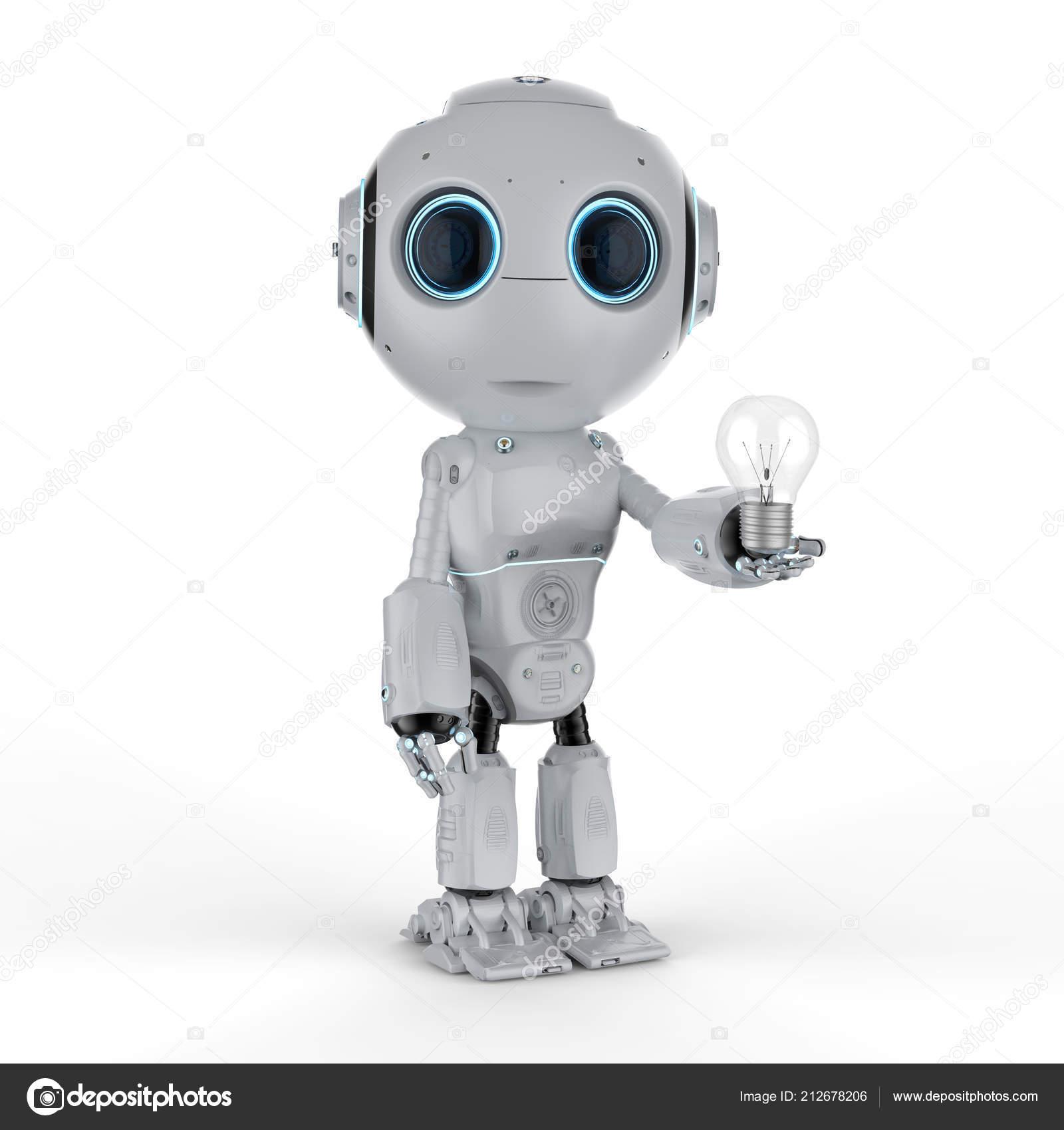 Rendering Cute Artificial Intelligence Robot Lightbulb Stock Photo