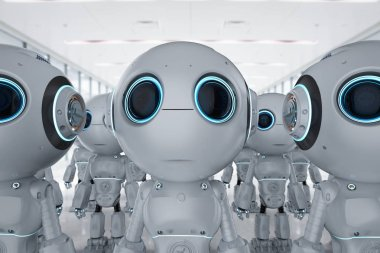 3d rendering group of cute artificial intelligence robots with cartoon character
