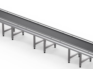 3d rendering empty conveyor line on white background stock vector