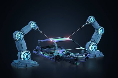 3d rendering robot assembly line in car factory on black background