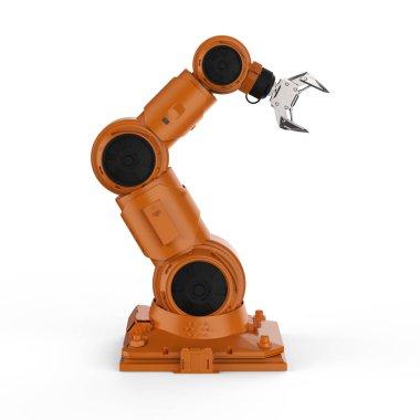 3d rendering orange robotic arm on white background