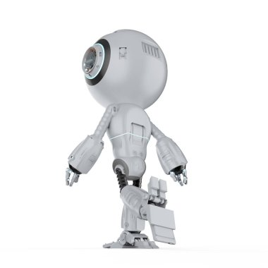 3d rendering mini robot walk or step out on white background