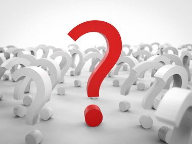 3d rendering red question mark with white question marks on white background
