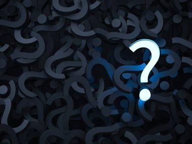 3d rendering shiny question mark with black question marks background