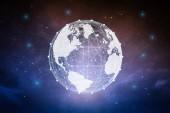 Globalisierungskonzept mit weltgrafischer Illustration am Dämmerhimmel
