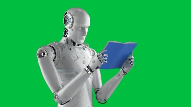 Strojové učení koncept s 3D vykreslování humanoid robot čtení knihy na zeleném pozadí obrazovky 4k záběry