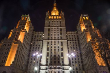 High-rise residential building, monument of Soviet architecture in the center of Moscow near the zoo, night view