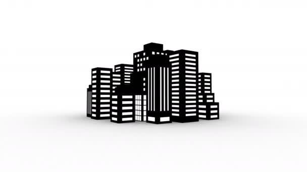 Městský styl spřádání v 360 stupňů s různými budovami, smyčkou video