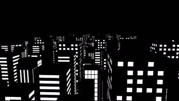 3-D-Animation auf dem Dach einer Stadt mit Wolkenkratzern im schwarz-weißen Comic-Stil