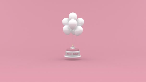 Happy Birthday cake with a candle hanging on balloons on pink background. Looping Birthday concept animation.