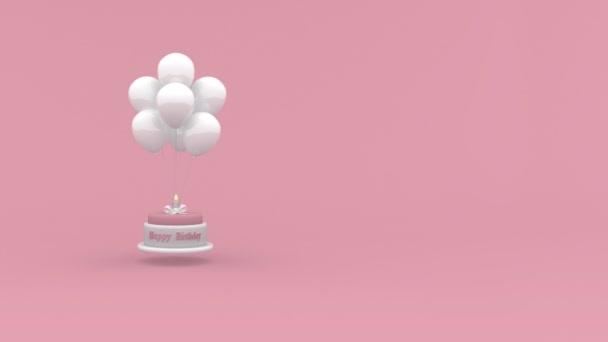Geburtstagstorte mit einer Kerze, die an Luftballons auf rosa Hintergrund hängt. Looping-Geburtstagskonzept Animation.