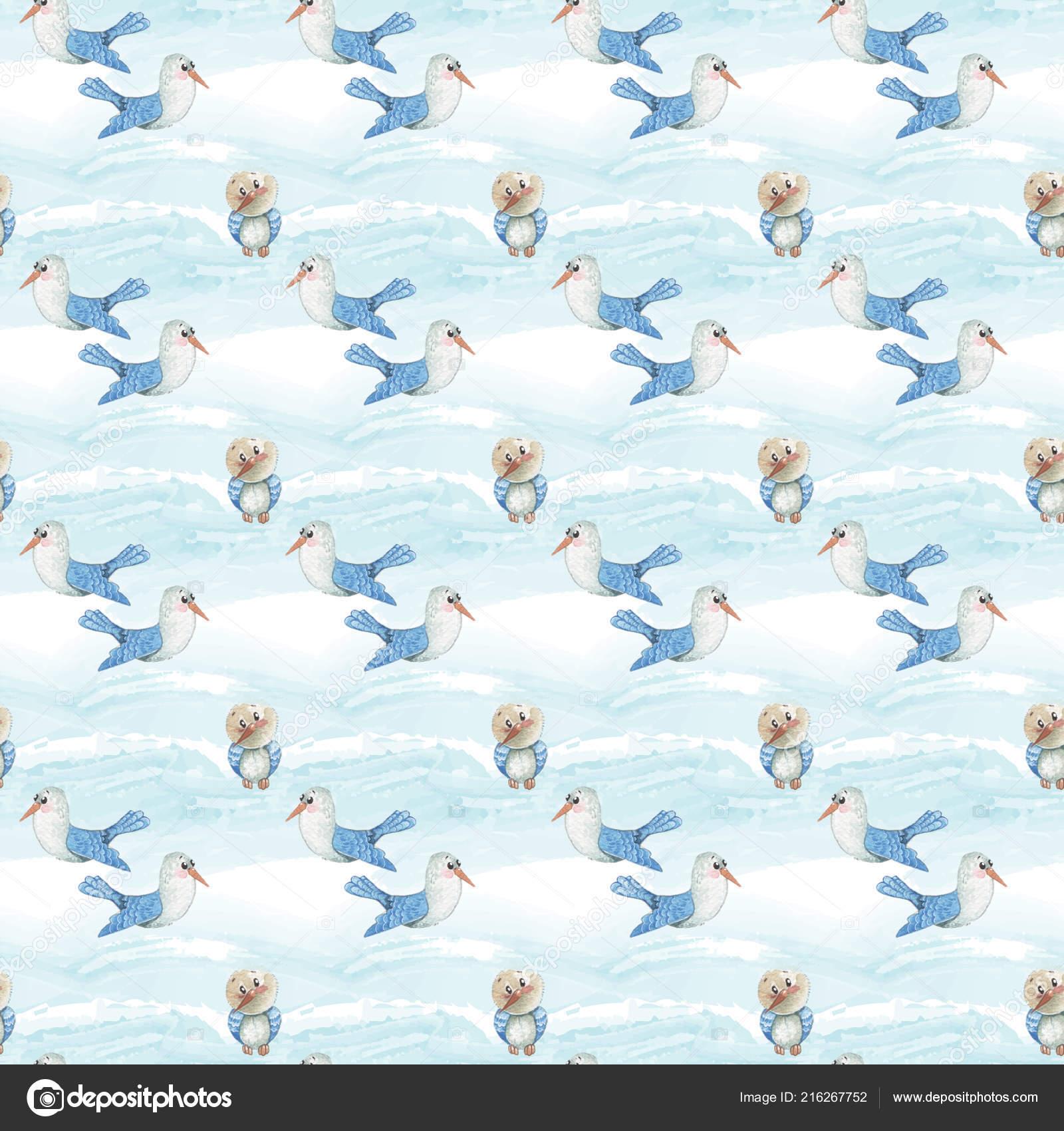 Sulu Boya şirin Kuş Martı Ve Uçan Bir Sıcak Hava Balonu Ve Bulutlar