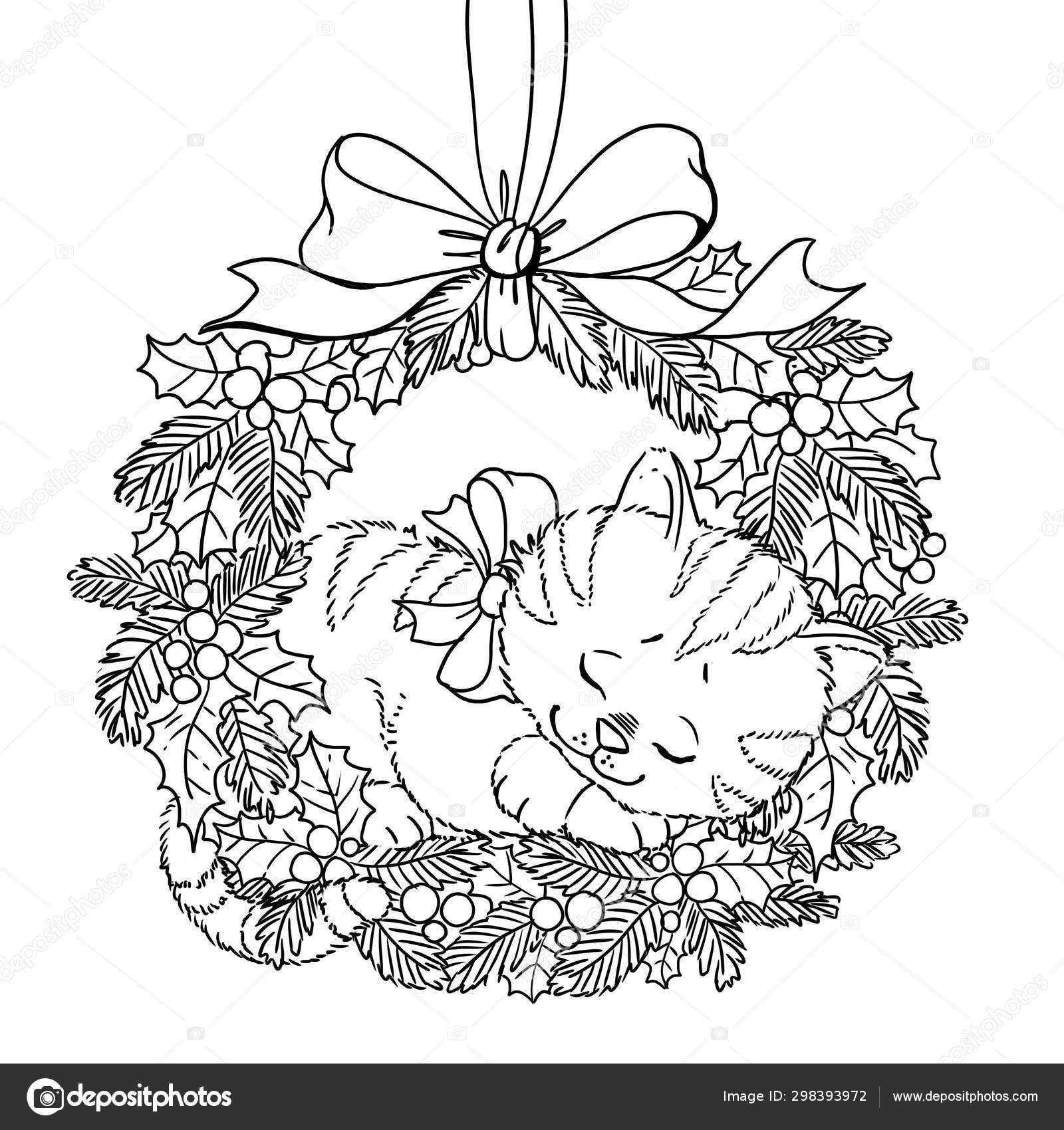 Christmas wreath. Coloring page. Doodle pattern with cute ...