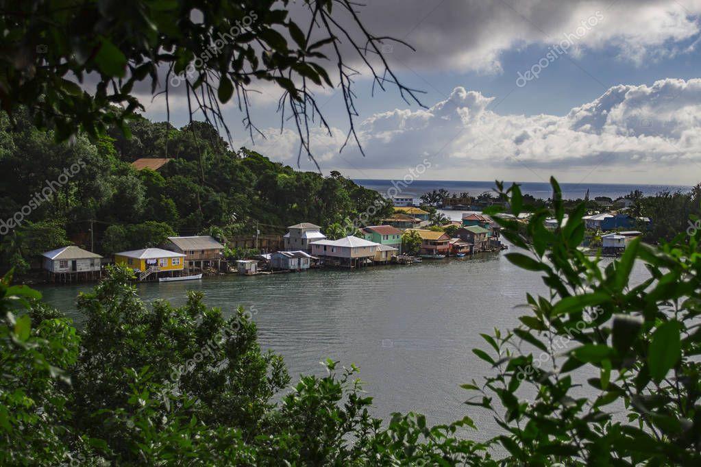 Seaside village on the island of Roatan